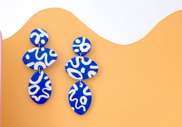 Statement big blue abstract polymer clay earrings