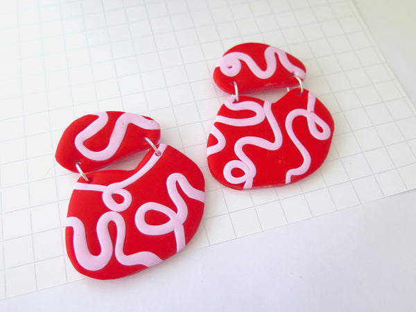 Large statement dangle earrings in pink & red polymer clay