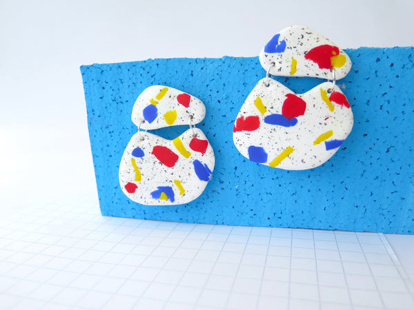 Large statement polymer clay earrings, terrazzo style in primary colours