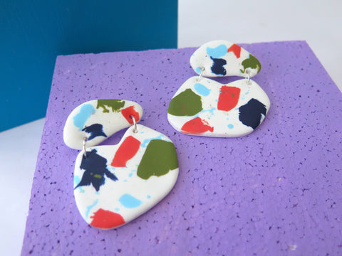 Large statement earrings polymer clay earrings in terrazzo style
