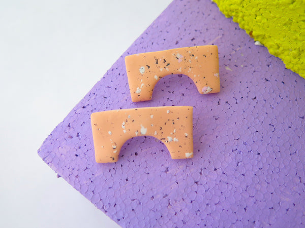 Statement speckled studs in abstract shape by Baked by Lou