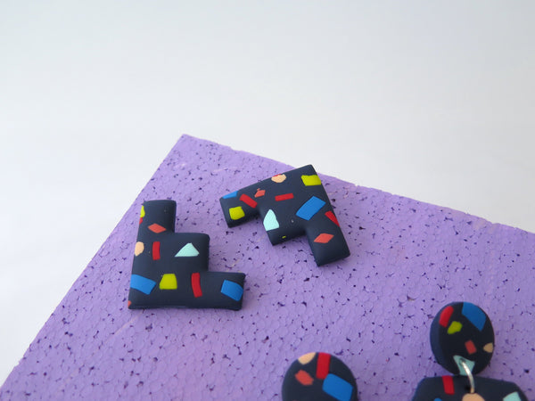 Statement clay earrings with colourful chunks, studs or dangles