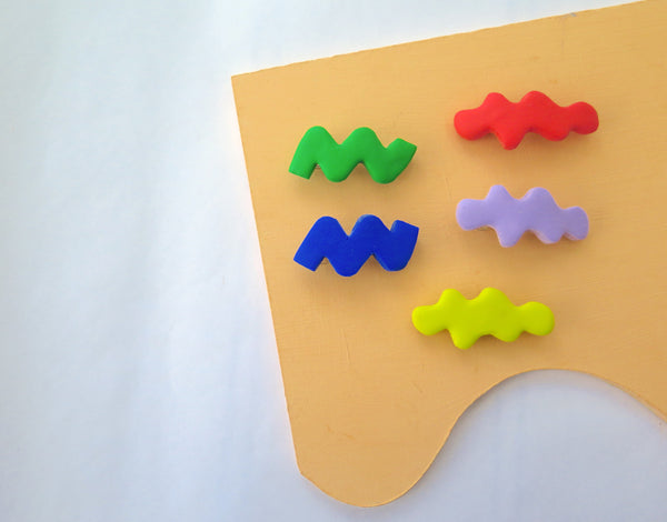 Small clay hair barrettes in lots of colours