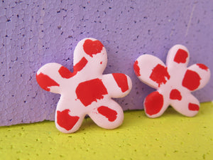 Statement pink flower studs by Baked by Lou