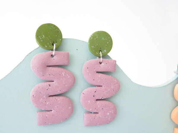 Statement speckled wiggle earrings