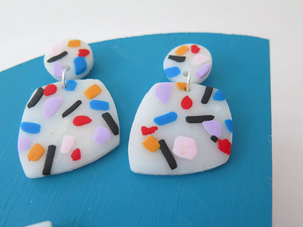Statement clay earrings with chunky colours in two styles