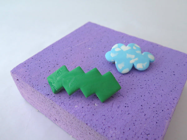 Statement chunky hair barrette - cloud and geometric shapes