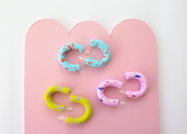 Small speckle clay hoop earrings in various colours