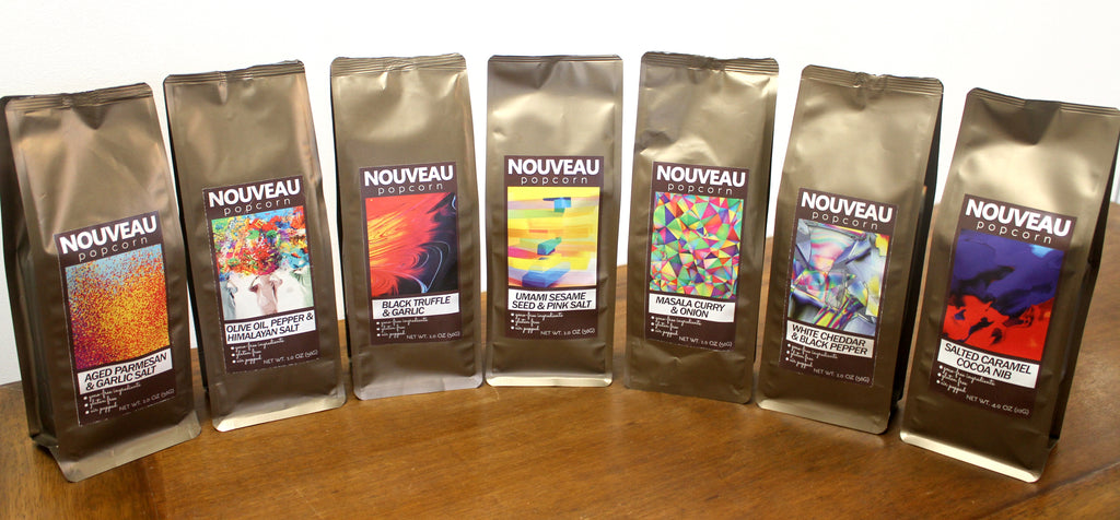 Nouveau Popcorn Set with 7 Flavors - 1.Olive Oil, Pepper, Himalayan Salt, 2. Aged Parmesan Garlic Salt 3.Masala Curry & Onion 4.Black Truffle Garlic 5.White Cheddar & Black Pepper 6.Umami Sesame Seed & Pink Salt Salted 7.Caramel Cocoa Nib