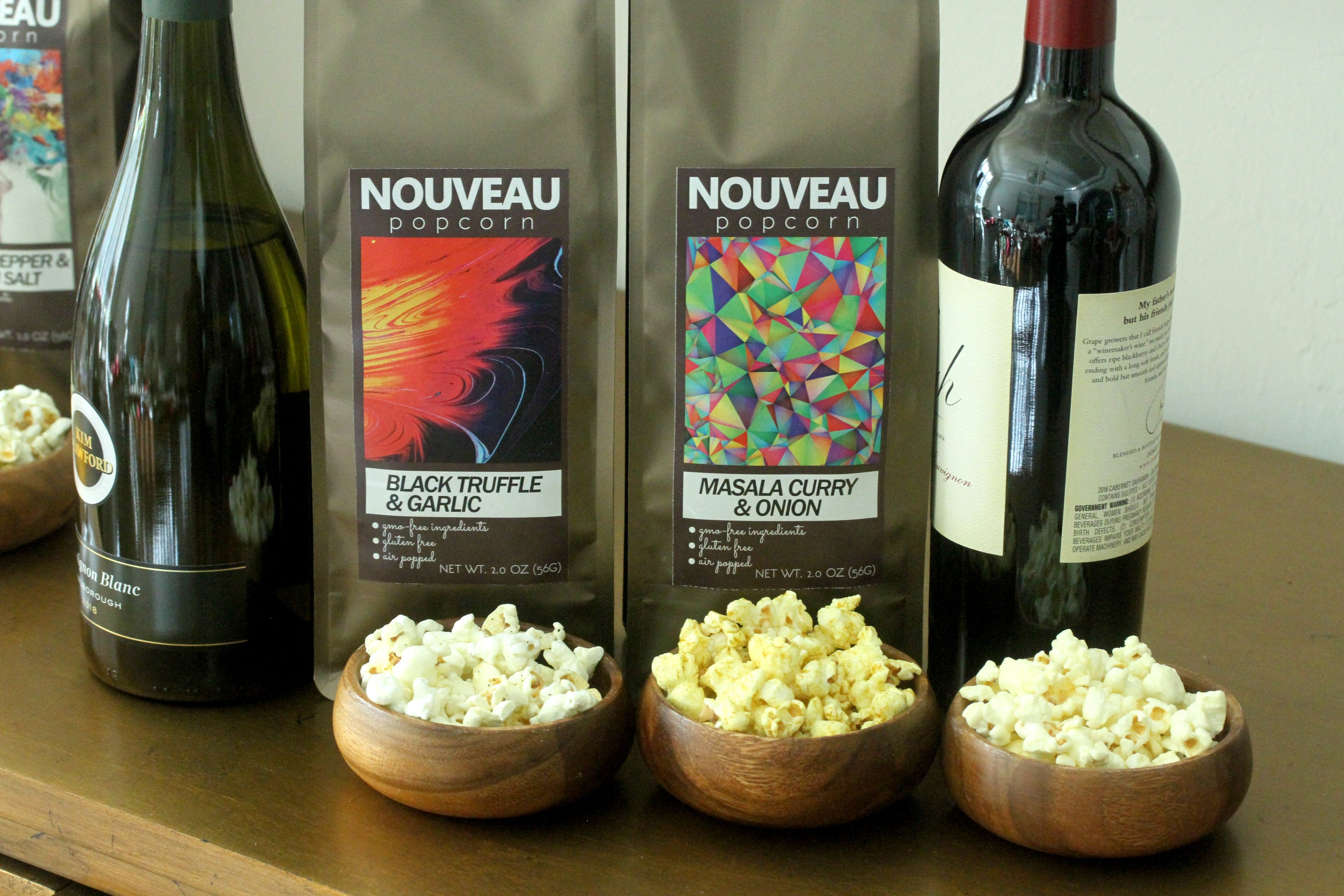 Free Shipping - Nouveau Popcorn Set with 4 Flavors -  Salted Caramel Cocoa Nib, White Cheddar Black Pepper, Umami Sesame Seed & Pink Salt, Black Truffle Garlic, (Shipping calculates to $0 at checkout)