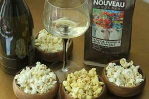 Free Shipping - Nouveau Popcorn Set with 4 Flavors - 1.Olive Oil Pepper & Himalayan Salt, 2. Aged Parmesan & Garlic Salt, 3. Masala Curry & Onion, 4. Black Truffle Garlic, Pair it with Wine and Beer, (Shipping calculates to $0 at checkout)