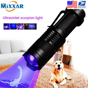 Mini Zoomable 3 Modes Scorpion UV LED Flashlight Ultraviolet Torch  Detector Pet Urine Stains Detecto