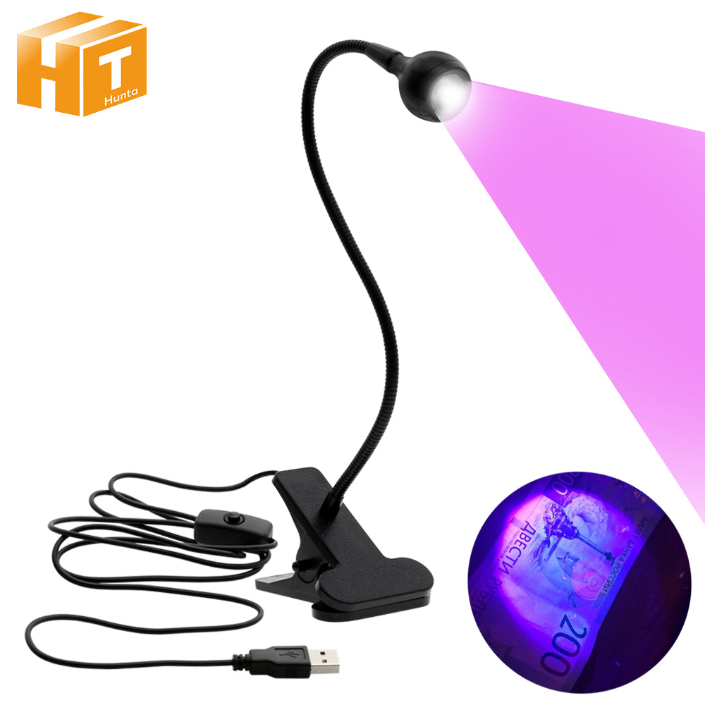 UV LED Clip Lamp USB Power Detect Light Scorpion UV Light  for Pet Urine Stains Detector.