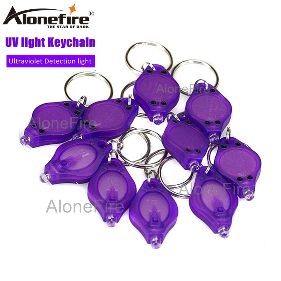 Purple  Uv LED Mini Keychain light  Passports Cat Dog pet urine Money Detector Ultraviolet torch