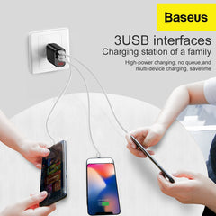 multi port baseus wall charger with 3 devices connected
