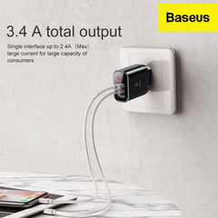 3.4 A Output Basues Wall Charger on with 2 devices connected