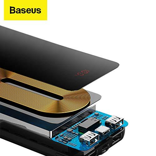 Baseus Qi Wireless Powerbank 10000mAh with Type-C, Lightning and 2 USB - Black