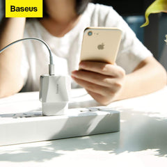 Baseus Mini Dual USB Wall Charger (EU) 10W with 2.1 Amp Power Supply for All Android and iOS Devices (White).