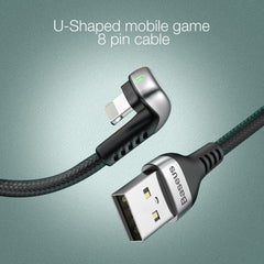 Baseus 2.4A U-Shaped Nylon Braided USB Cable for IP with Charging Light (1M Black)