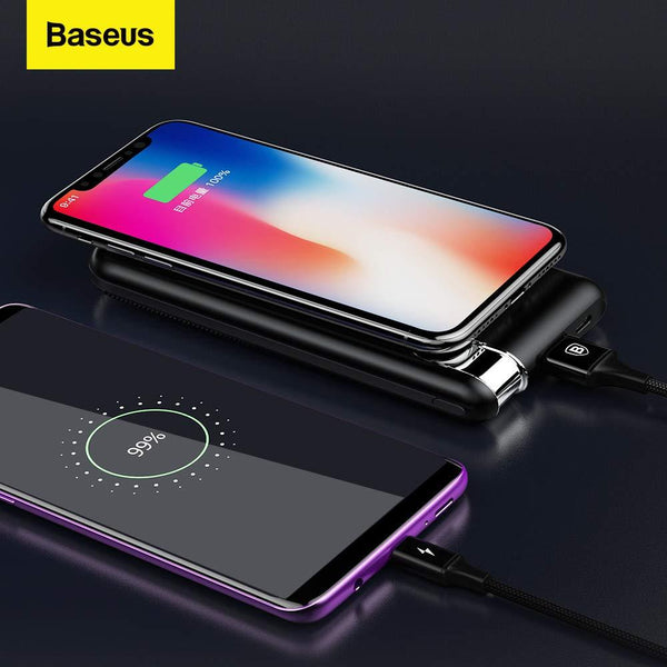 Baseus QI Enabled QC3.0 Wireless Powerbank 10000mAh with Type-c, Micro Input & 2 USB Output.