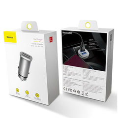 baseus car charger 30w in metal body packaging box white