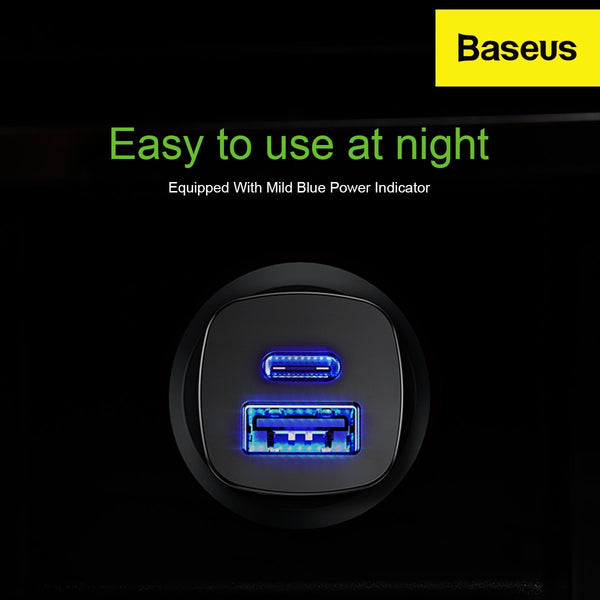 Baseus 30W Smart CarCharger Dual Port (Type C with PD 3.0) & USB (Quick Charge QC4.0) SCP&AFC Charge Support.