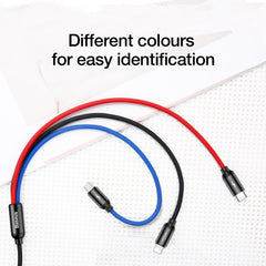 Baseus 3-in-1 Nylon Braided Fast Multi Charging USB (with IP/Android/Type-C pins) Data Cable