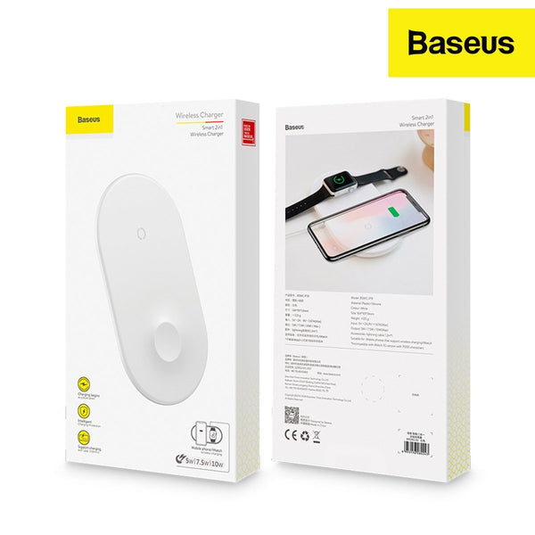 Baseus Smart (2in1) Qi Wireless Charger for IP and iWatch and Smartphones I Qick Response I Fast Charge (Even with case) (White)
