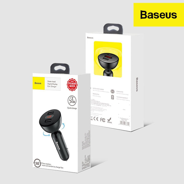 Baseus 4.8A Dual USB Port with Digital Display and Car Charger with 360 Degrees Free Rotation Shake Head Design.