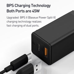 Baseus CCGAN Q01 GaN Mini Type-C+USB 45W Dual Port Output Quick Travel Charger Compatible with Full Quick Charge Protocols With Mini TypeC to TypeC 60W 1m Charging Cable.(Laptop's, Mobile's, Tablet's)