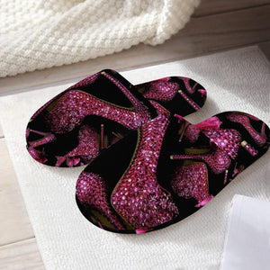 Classic Cotton Slippers 'Pink crystals shoes'