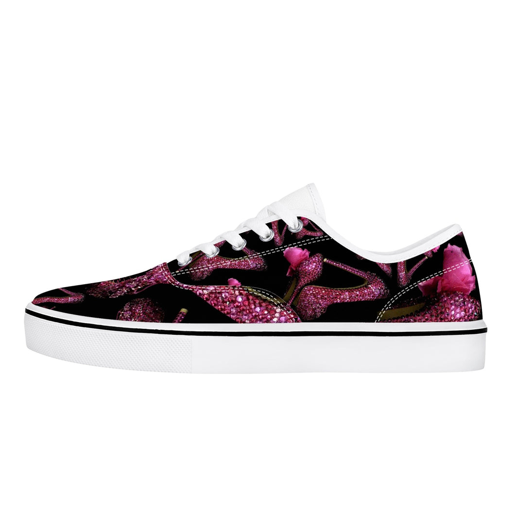 Skate Shoes - White/Black 'Pink crystals shoes'