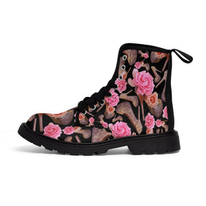 Women's Canvas Boots 'Rose pink flower'