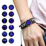 Luminous 12 Constellation Leather Bracelet