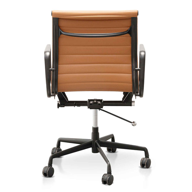 Low Back Office Chair - Saddle Tan in Black Frame