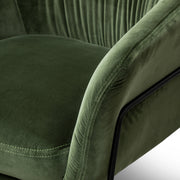 CLC6131-KSO Dark Green Velvet Armchair - Black Legs