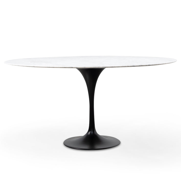1.5m - White Marble Round Dining Table - Black Base
