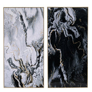 Marbled Print Wall Art Set of 2 Long