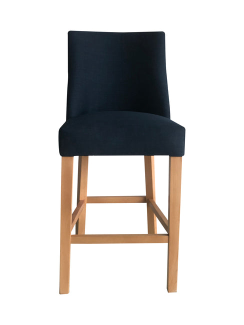 Cordelia Barstool French Navy with chrome ring