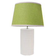 Patrick white Bedside Lamp with green tapered shade