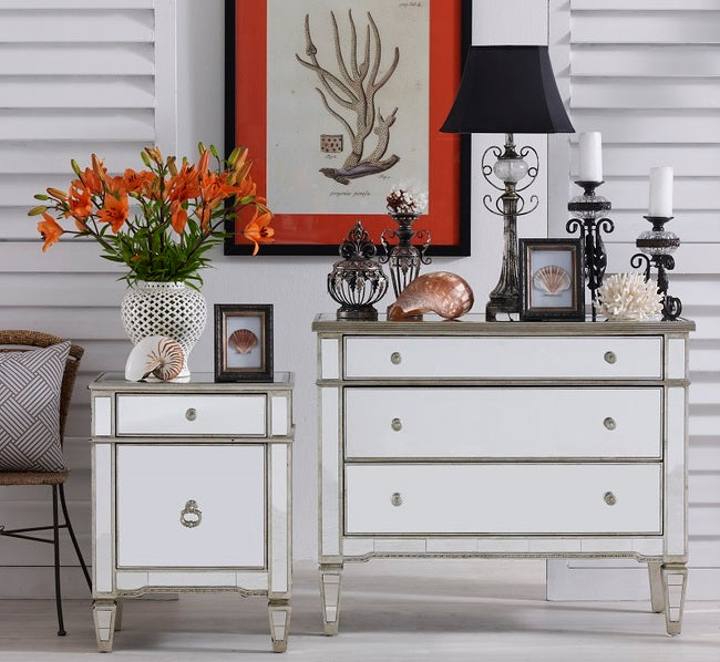 Mirrored 3 Drawer Chest Antique Ribbed