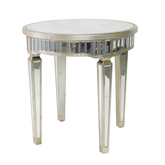 Mirrored Round Table Antique Ribbed