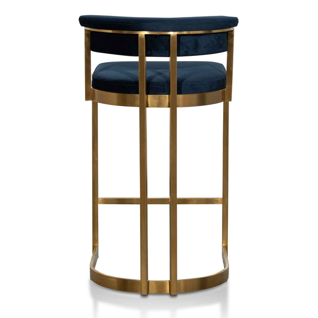 CBS6273-BS Indigo Velvet Bar Stool - Golden Base