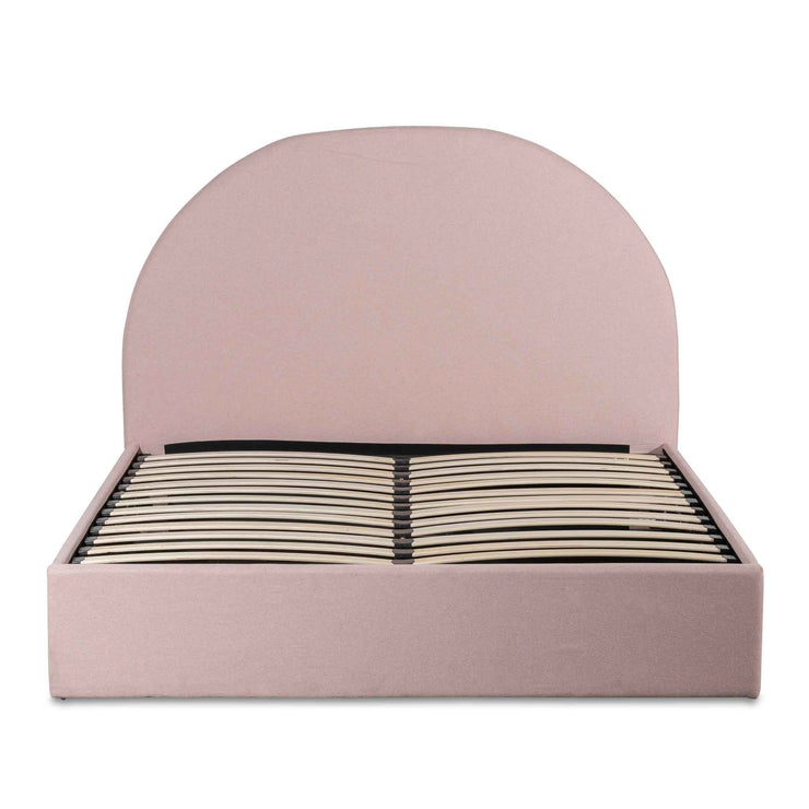 Fabric Queen Bed - Blush Pink with Storage