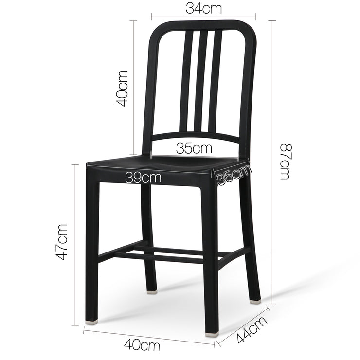 Set of 2 Navy Replica Dining Chair - Black