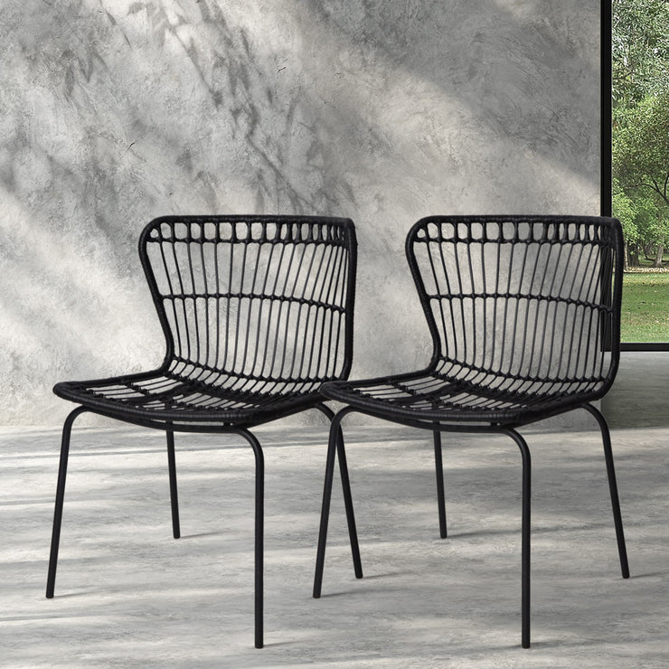 Artiss Set of 2 PE Wicker Dining Chair - Black