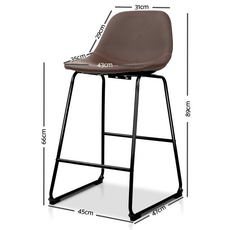 Artiss Set of 2 PU Leather Crosby Bar Stools - Brown