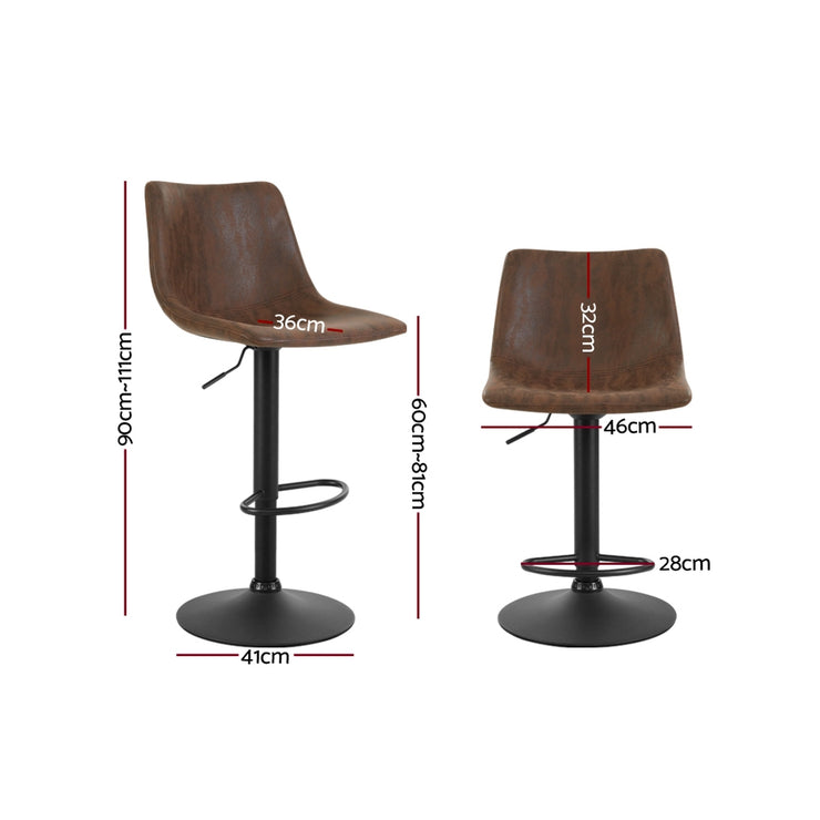 Artiss 2x Kitchen Bar Stools Gas Lift Bar Stool Chairs Swivel Vintage Leather Brown Black Coated Legs