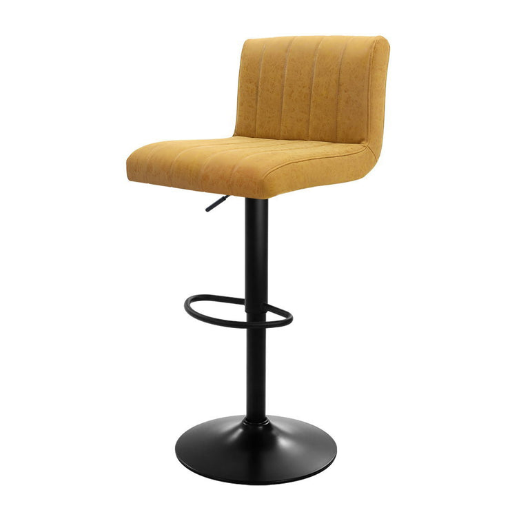 Artiss 2x Kitchen Vintage Bar Stools Swivel Bar Stool Leather Gas Lift Chairs Yellow