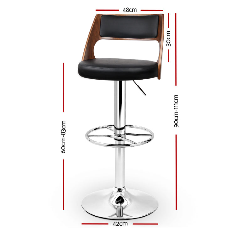 Artiss PU Leather Gas Lift Bar Stool - Black